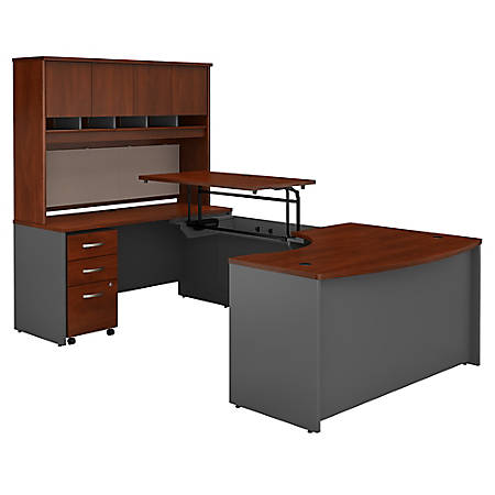 """Bush Business Furniture Components 60""""W Left Hand 3 Position Sit to Stand U Shaped Desk with Hutch and Mobile File Cabinet, Hansen Cherry/Graphite Gray, Premium Installation"""