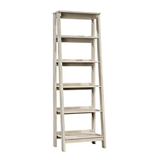 Sauder Trestle Bookcase 5 Shelves Chalked