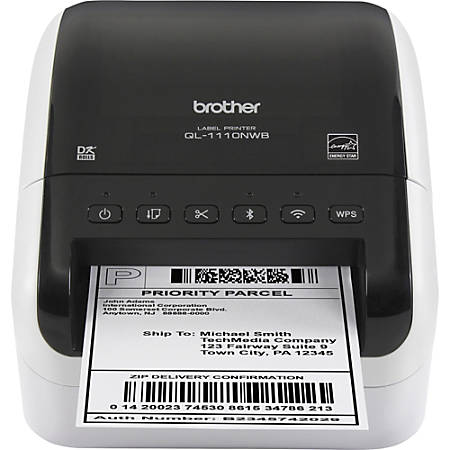 "Brother QL-1110NWB Direct Thermal Printer - Monochrome - Desktop - Label Print - 118.11"" Print Length - 4"" Print Width - 4.33 in/s Mono - 300 x 300 dpi - Wireless LAN - Label, Roll Paper, Die-cut Label, Continuous Label - 4.08"" Label Width"