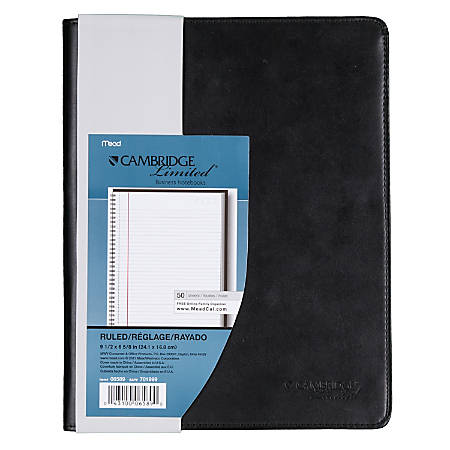 "Cambridge® 30% Recycled Refillable Business Notebook, 6 5/8"" x 9 1/2"", 1 Subject, College Ruled, 48 Sheets (96 Pages), Black"