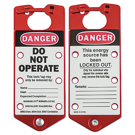 Labeled Lockout Hasps, 3 in W x 7 1/4 in L, Red