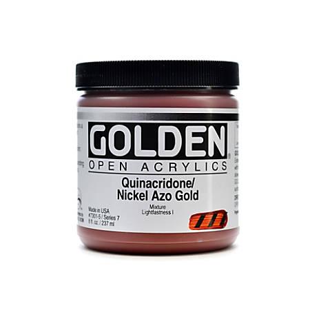 Golden OPEN Acrylic Paint, 8 Oz Jar, Quinacridone/Nickel Azo Gold