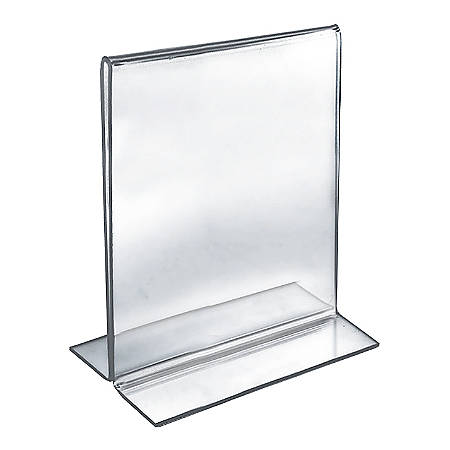 """Azar Displays Double-Foot 2-Sided Acrylic Vertical Sign Holders, 8"""" x 10"""", Clear, Pack Of 10 Holders"""