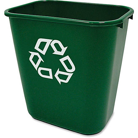 """Rubbermaid Commercial Deskside Recycling Container - 7.03 gal Capacity - Rectangular - 15"""" Height x 10.2"""" Width - Plastic - Green"""