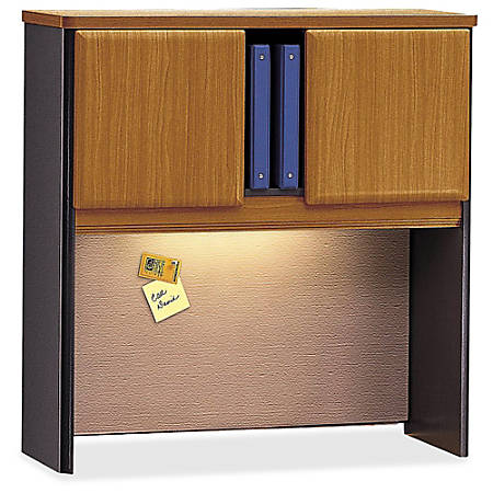 "Bush Business Furniture Office Advantage Hutch 36""W, Natural Cherry/Slate, Premium Installation"