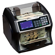 Front loading bill counter with counterfeit