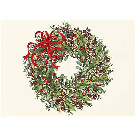 """Custom Embellished Holiday Cards And Foil Envelopes, 7-7/8"""" x 5-5/8"""", Red Ribbon Wreath, Box Of 25 Cards"""