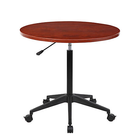 Boss® Mobile Round Height-Adjustable Table, Cherry/Black