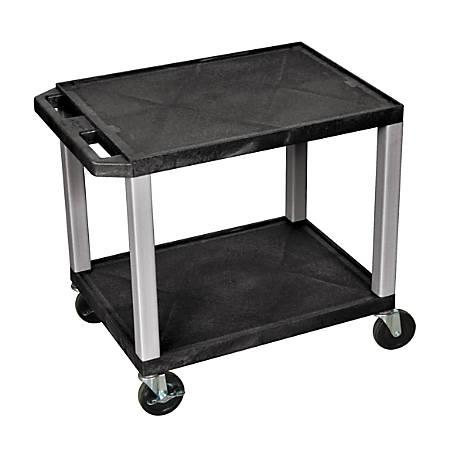 "H. Wilson Tuffy 2-Shelf Plastic Utility Cart, 26""H x 19""W x 16""D, Black/Nickel"