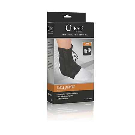 CURAD® Vinyl Lace-Up Ankle Splints, Small, Black, Case Of 4
