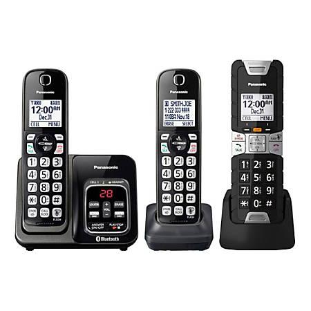 Panasonic® L2C DECT 6.0 Plus Tough Cordless Phone System With Digital Answering Machine, Black, KX-TGD583M