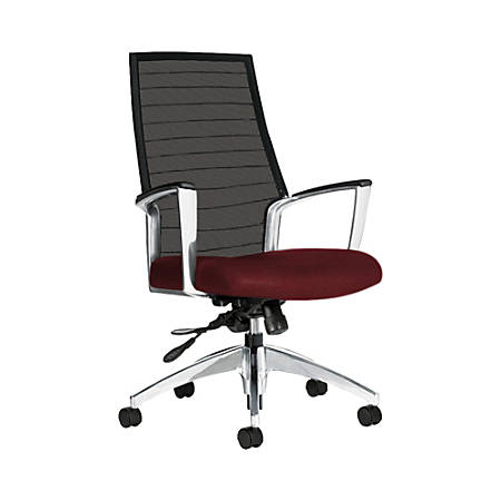 "Global® Accord Mesh High-Back Tilter Chair, 44""H x 25""W x 25""D, Red Rose"