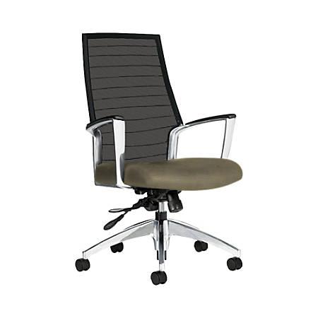 "Global® Accord Mesh High-Back Tilter Chair, 44""H x 25""W x 25""D, Sandcastle"