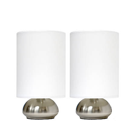 """Simple Designs Gemini Mini Touch Table Lamps, 9""""H, Ivory Shade/Brushed-Nickel Base, Set Of 2"""