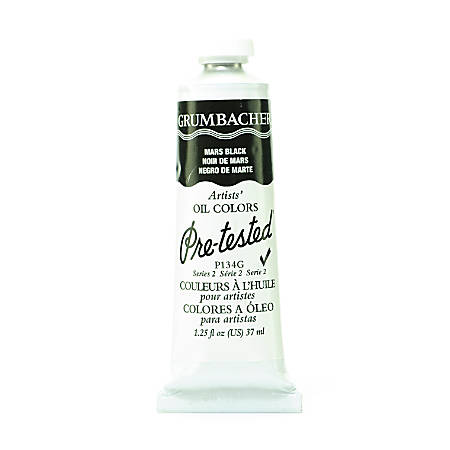 Grumbacher P134 Pre-Tested Artists' Oil Colors, 1.25 Oz, Mars Black, Pack Of 2