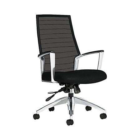"""Global® Accord Mesh High-Back Tilter Chair, 44""""H x 25""""W x 25""""D, Black Coal"""