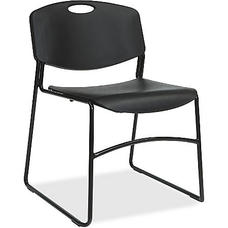 Lorell® Big And Tall Plastic Stacking Chairs, Black, Set Of 4 Chairs