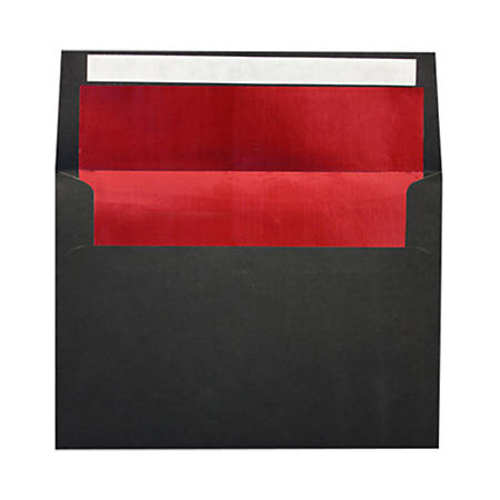 """LUX Invitation Envelopes With Peel & Press Closure, A7, 5 1/4"""" x 7 1/4"""", Black/Red, Pack Of 500"""