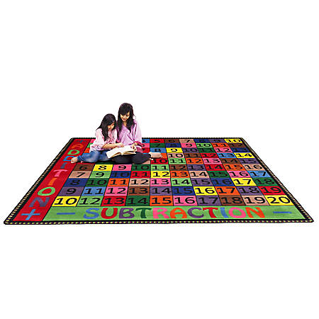 Flagship Carpets Addition And Subtraction Rug, 6' x 6', Multicolor