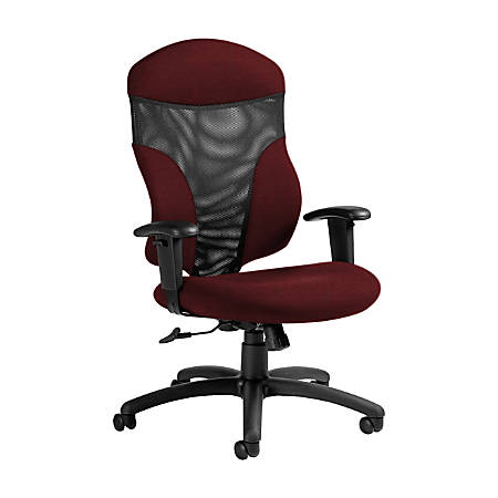 "Global® Tye Mesh Tilter Chair, High-Back, 45 1/2""H x 25""W x 26""D, Red Rose/Black"