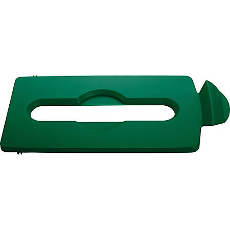 Rubbermaid Commercial Slim Jim Lid Green Paper Slot - 1 Each - Green - Plastic