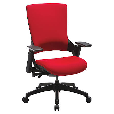 Lorell® Serenity Series Executive Multifunction High-Back Chair, Fabric, Red
