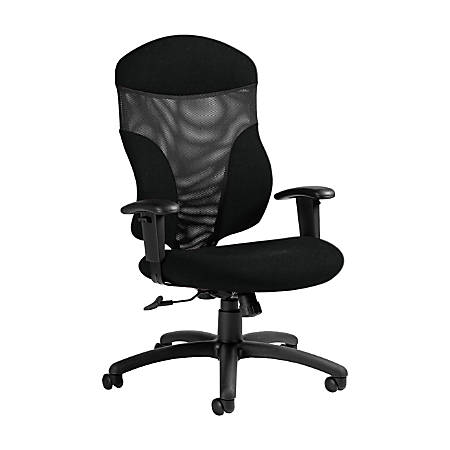 "Global® Tye Mesh Tilter Chair, High-Back, 45 1/2""H x 25""W x 26""D, Black Coal/Black"