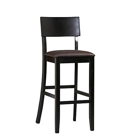 "Linon Home Decor Products Torino Bar Stool, 30""H, Dark Brown/Black"