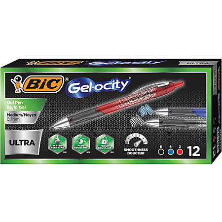BIC Gel-ocity Gel Pen - Medium Pen Point - 0.7 mm Pen Point Size - Black, Blue, Red Gel-based Ink - Black, Blue, Red Barrel - 12 / Box