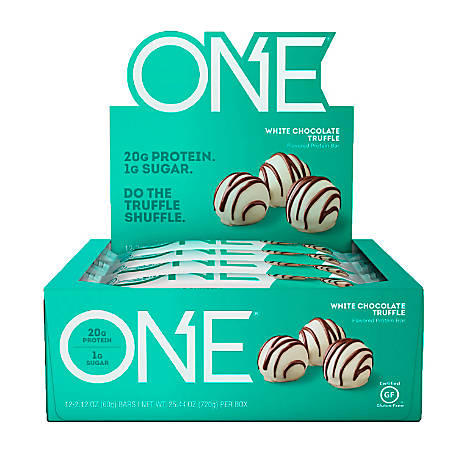 ONE White Chocolate Truffle Protein Bars, 2.12 oz, Box Of 12 Bars