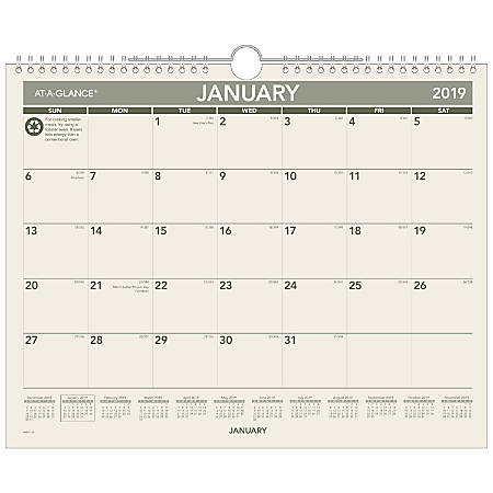 """AT-A-GLANCE® Monthly Wall Calendar, 15"""" x 12"""", 100% Recycled, January to December 2019"""