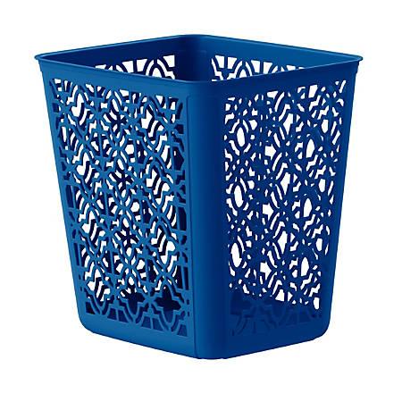 United Solutions Trellis Rectangular Plastic Wastebasket, 4 Gallons, Blue
