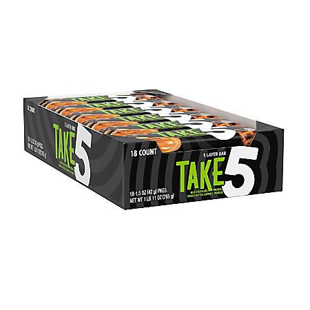 TAKE 5 Candy Bars, 1.5 Oz, Box Of 18 Bars