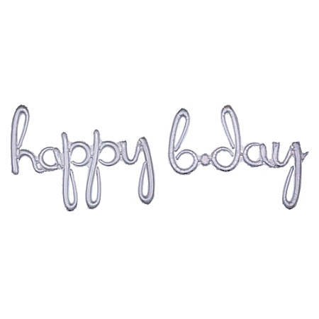 "Amscan ""Happy B-Day"" Cursive Balloon Banner, 76"" x 27"", Prismatic Silver"