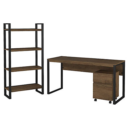 """Bush Furniture Latitude 60""""W Writing Desk with Mobile File Cabinet and Etagere Bookcase, Rustic Brown Embossed, Standard Delivery"""