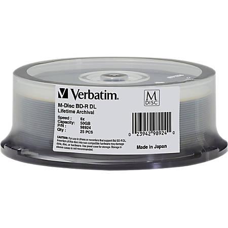 Verbatim Blu-ray Recordable Media - BD-R DL - 6x - 50 GB - 25 Pack Spindle