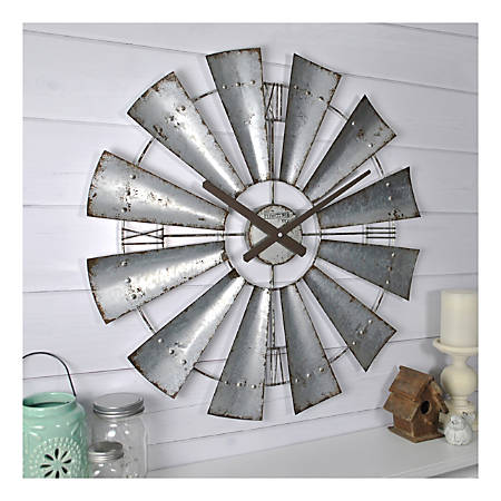 FirsTime & Co.® Windmill Wall Clock, Galvanized Gray