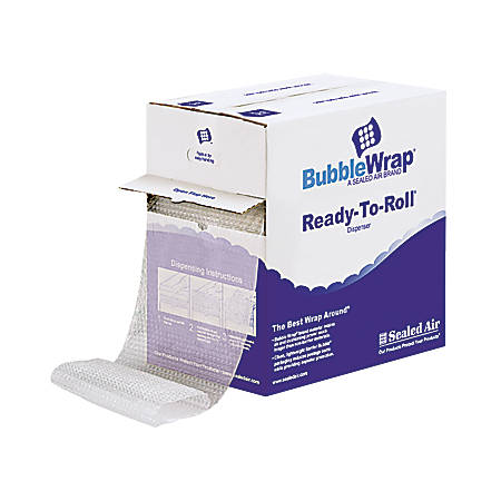 """Sealed Air Ready-To-Roll Bubble Packing Material, 12"""" x 65'"""