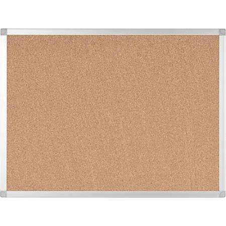 "Bi-silque Ayda Cork Bulletin Board - 0.50"" Height x 36"" Width - Cork Surface - Self-healing, Durable, Resilient, Heavy-gauge - Aluminum Frame - 1 Each"