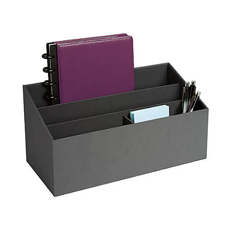 "Realspace™ 4-Compartment Desk Caddy, 5 15/16""H x 5 7/8""W x 12 7/16""D, Gray"