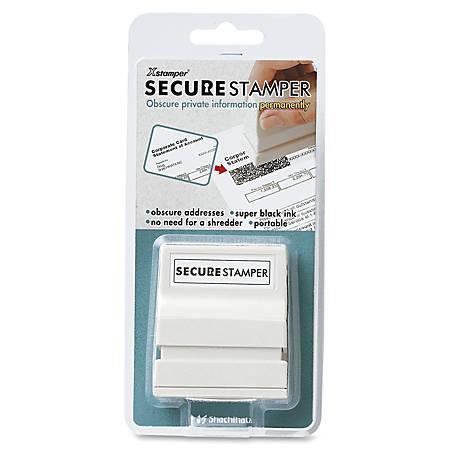 """Xstamper Secure Privacy Stamps - 0.50"""" Impression Width x 1.63"""" Impression Length - Black - 1 / Pack"""