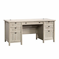 Sauder Costa Executive Desk Chalked Chestnut