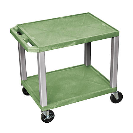 "H. Wilson Tuffy 2-Shelf Plastic Utility Cart, 26""H x 24""W x 18""D, Green/Nickel"