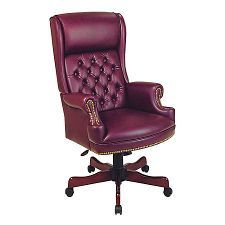 """Office Star™ Traditional High-Back Chair With Built-In Headrest, 49 1/2""""H x 27 1/4""""W x 32""""D, Mahogany Frame, Oxblood Fabric"""