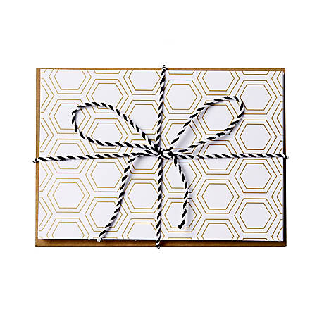 """Sincerely A Collection by C.R. Gibson® Baker's Twine Note Cards With Envelopes, 4 1/4"""" x 6"""", Gold Hexagon, Blank Inside, Bag Of 8"""