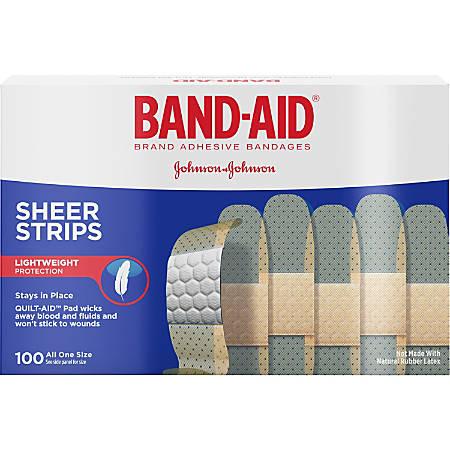 "Johnson & Johnson Sheer Bandage Strips - 11.40"" x 12.70"" - 100/Box - White"