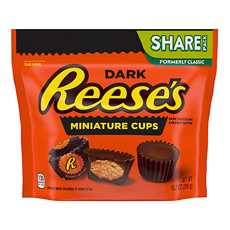 Reese's Dark Chocolate Peanut Butter Cups Miniatures, 10.2 Oz Bag, Pack Of 3 Bags