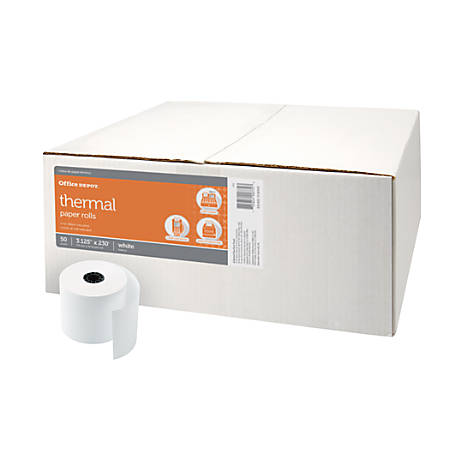 "Office Depot® Brand Thermal Paper Rolls, 3 1/8"" x 230', White, Carton Of 50"