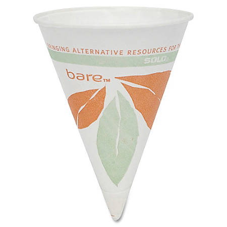 Solo® Bare™ Dry Wax Paper Cone Cups, 4 Oz., White, Pack Of 200