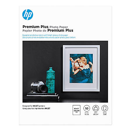 "HP Premium Plus Photo Paper for Inkjet Printers, Glossy, Letter Size (8 1/2"" x 11""), 80 Lb, Pack Of 50 Sheets (CR664A)"